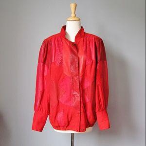 Vintage 80s Red Suede Bomber Jacket